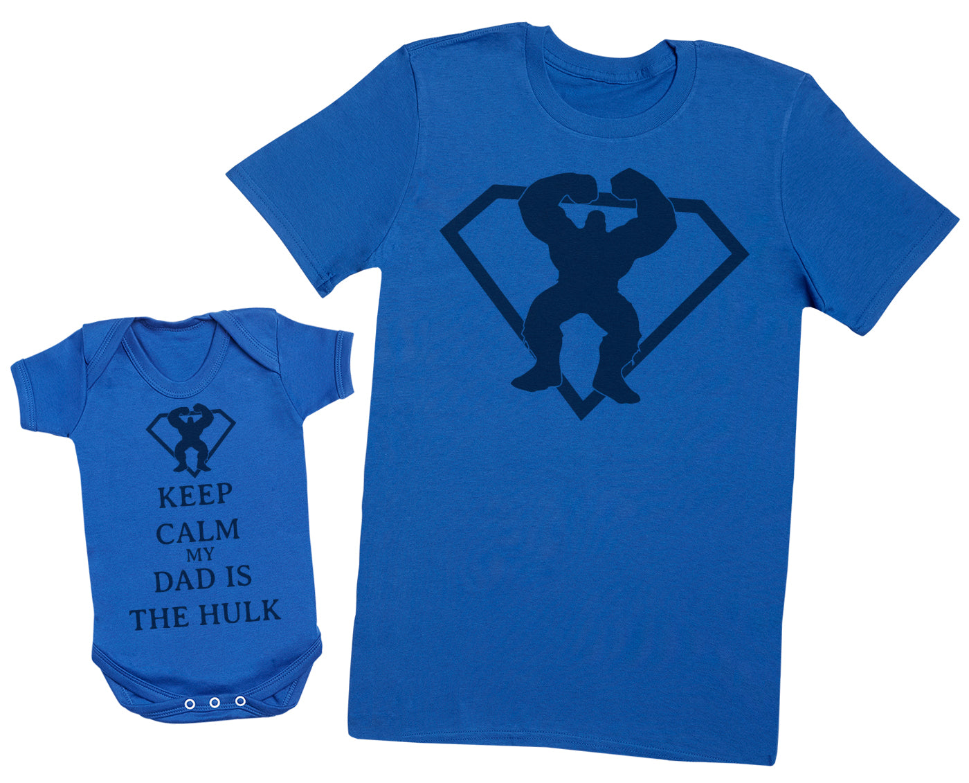 Keep Calm My Dad Is The Hulk Matching Father Baby Gift Set - Mens T Shirt & Baby Bodysuit