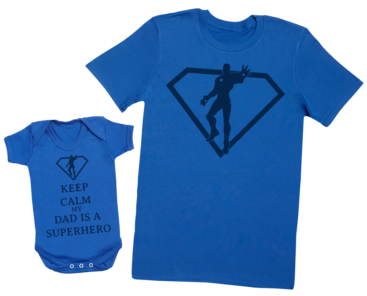 Keep Calm My Dad Is A Superhero Matching Father Baby Gift Set - Mens T Shirt & Baby Bodysuit