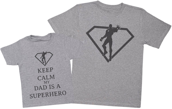 Keep Calm My Dad Is A Superhero Matching Father Kids Gift Set - Mens T Shirt & Kid's T Shirt