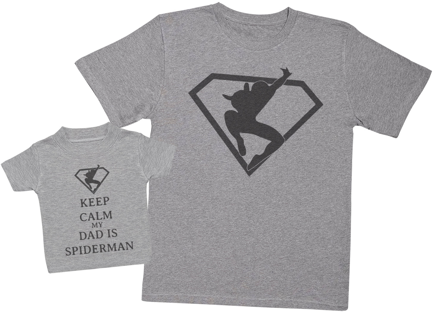 Keep Calm My Dad Is Spiderman Matching Father Baby Gift Set - Mens T Shirt & Baby T-Shirt