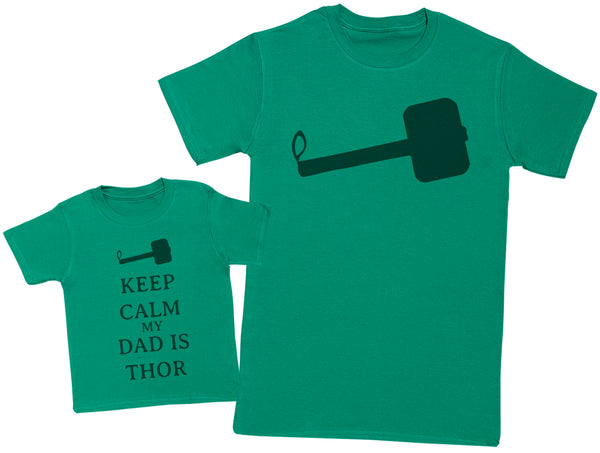 Keep Calm My Dad Is Thor Matching Father Baby Gift Set - Mens T Shirt & Baby T-Shirt