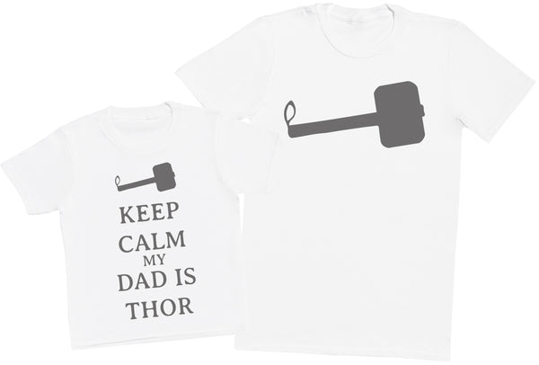 Keep Calm My Dad Is Thor Matching Father Kids Gift Set - Mens T Shirt & Kid's T Shirt