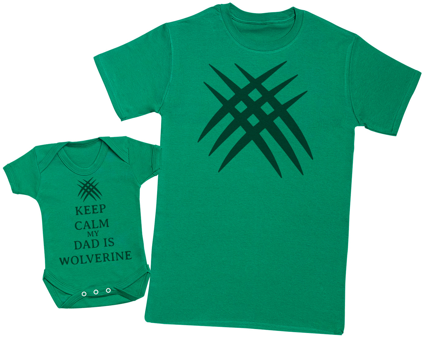 Keep Calm My Dad Is Wolverine Matching Father Baby Gift Set - Mens T Shirt & Baby Bodysuit