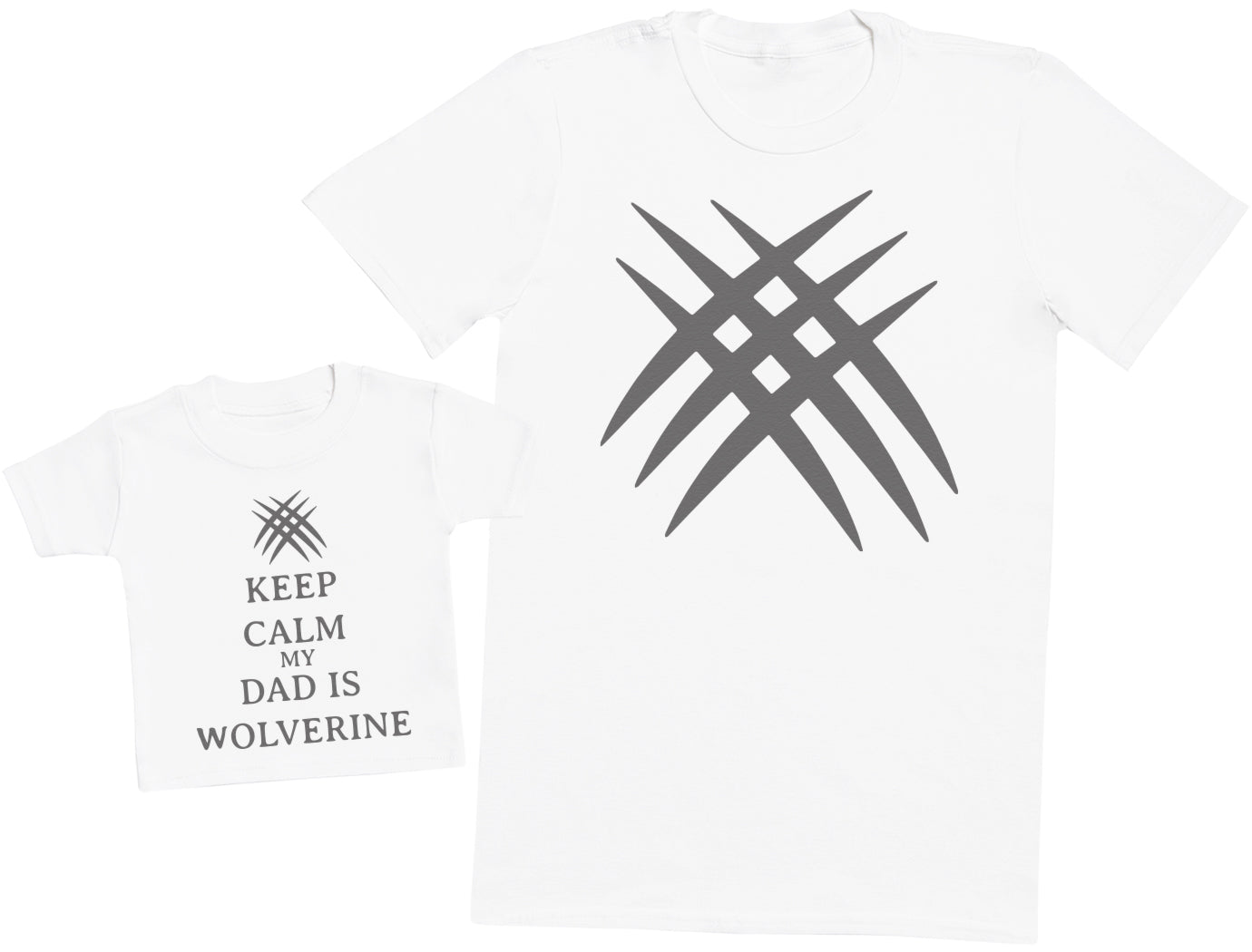 Keep Calm My Dad Is Wolverine Matching Father Baby Gift Set - Mens T Shirt & Baby T-Shirt
