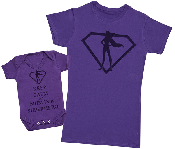 Keep Calm My Mum Is A Superhero Matching Mother Baby Gift Set - Womens T Shirt & Baby Bodysuit