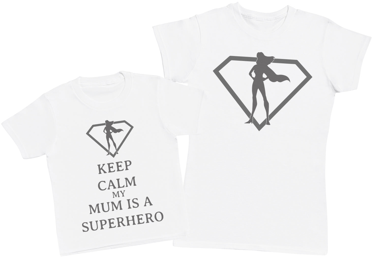Keep Calm My Mum Is A Superhero Matching Auntie Kid's Gift Set - Womens T Shirt & Children's T - Shirt