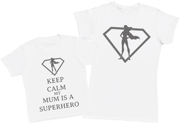 Keep Calm My Mum Is A Superhero Matching Mother Kid's Gift Set - Womens T Shirt & Children's T-Shirt