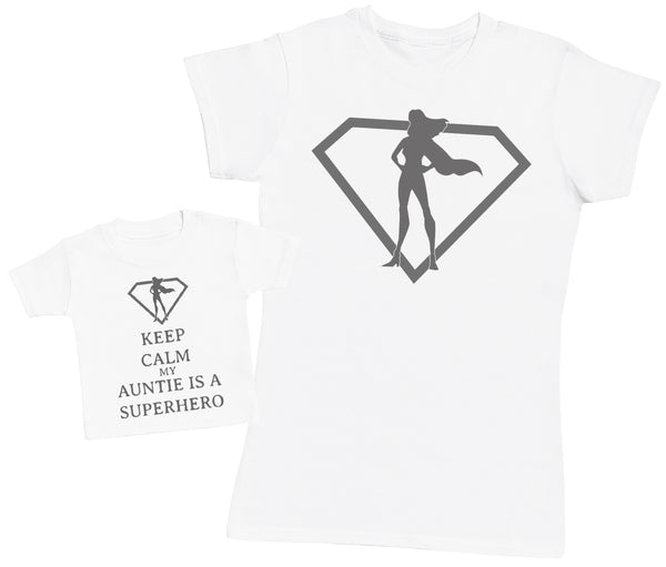 Keep Calm My Auntie Is A Superhero Matching Mother Baby Gift Set - Womens T Shirt & Baby T Shirt