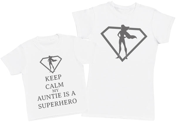 Keep Calm My Auntie Is A Superhero Matching Mother Kid's Gift Set - Womens T Shirt & Children's T-Shirt