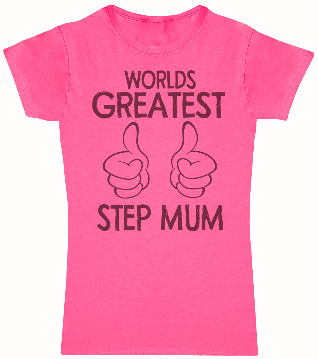Worlds Greatest Step Mum Thumbs Up - Mums T-Shirt