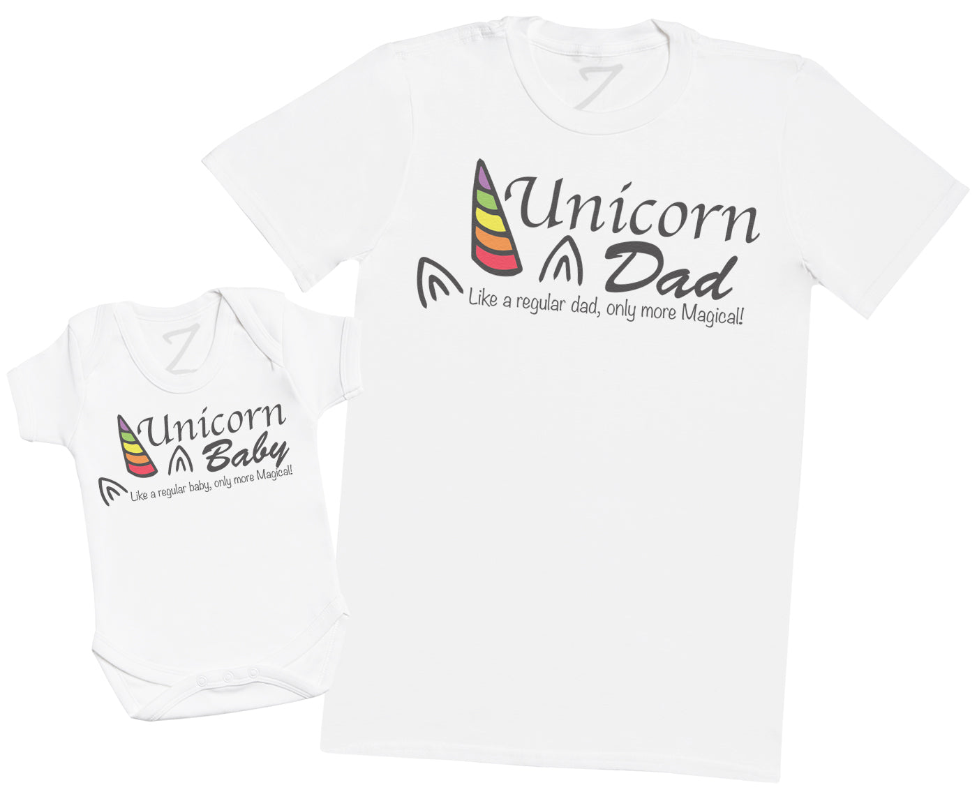 Unicorn Baby & Dad, Only more Magical - Mens T Shirt & Baby Bodysuit