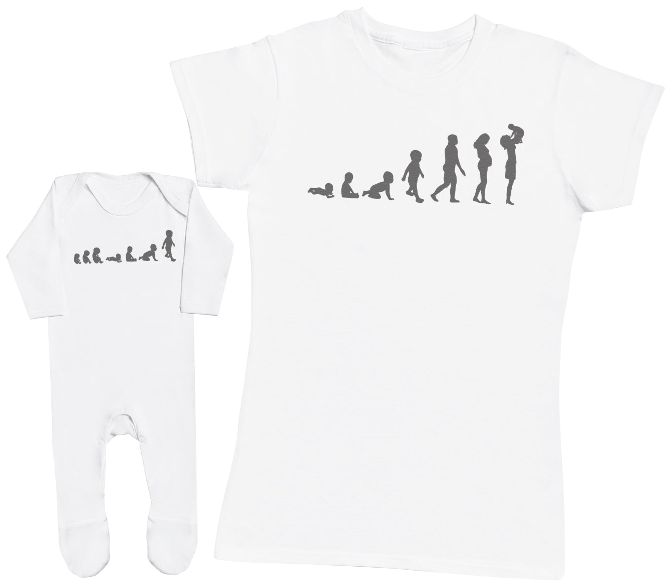 Evolution To Mummy & Baby - Baby T-Shirt & Mother's T-Shirt