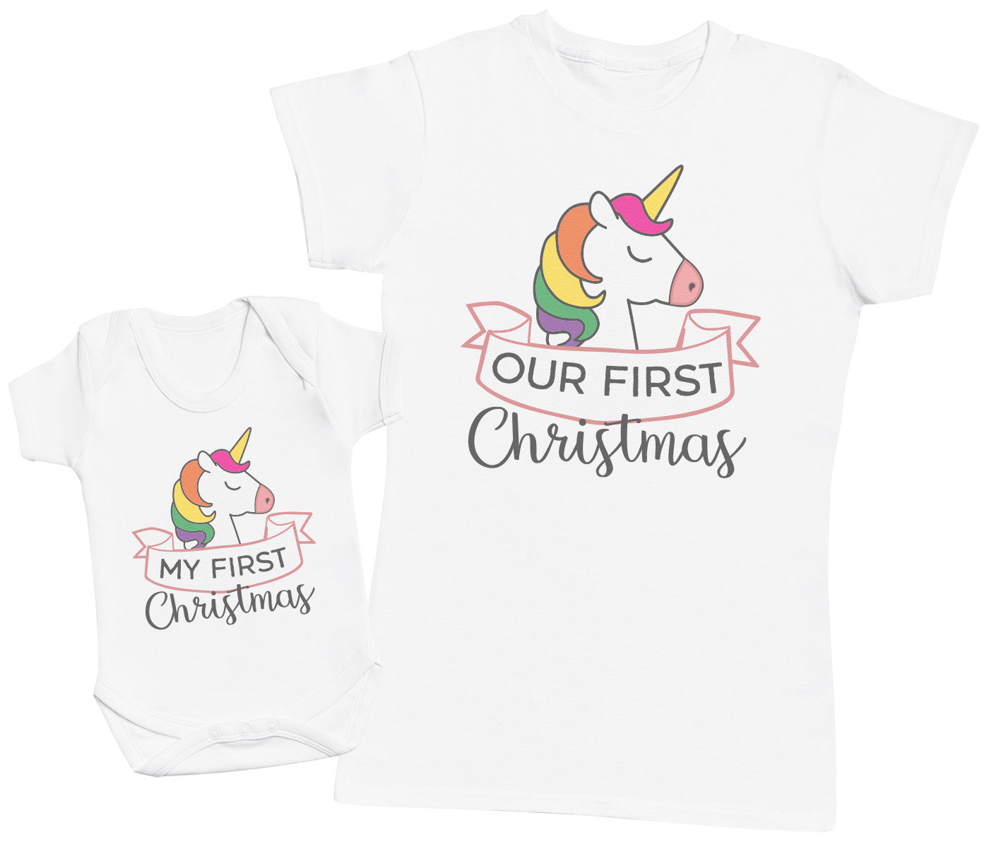 My First Christmas Unicorn Design - Baby Bodysuit & Mother's T-Shirt