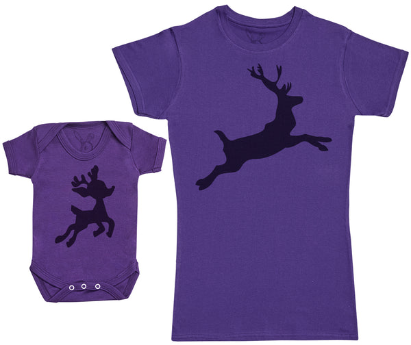 Baby Reindeer & Reindeer Matching Mother Baby Gift Set - Womens T Shirt & Baby Bodysuit