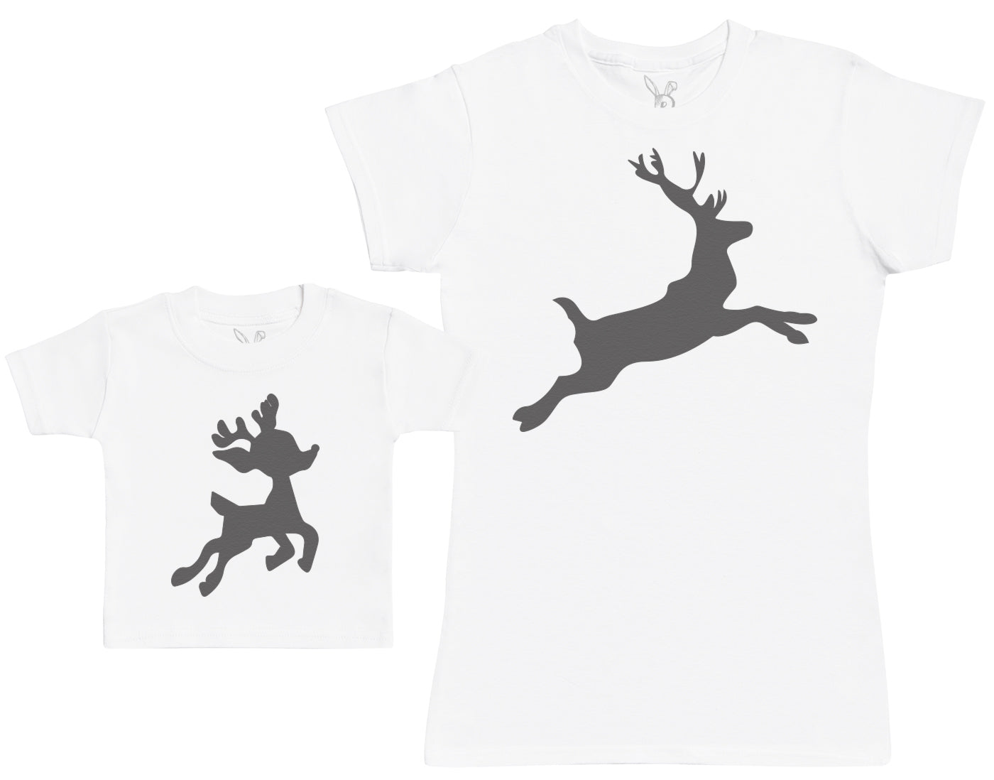 Baby Reindeer & Reindeer Matching Mother Baby Gift Set - Womens T Shirt & Baby T Shirt