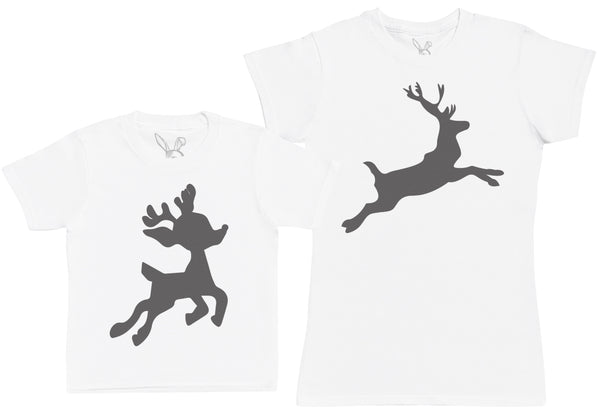 Baby Reindeer & Reindeer Matching Mother Kid's Gift Set - Womens T Shirt & Children's T-Shirt