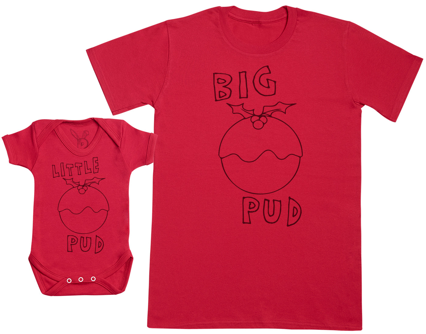 Little Pud & Big Pud Matching Father Baby Gift Set - Mens T Shirt & Baby Bodysuit