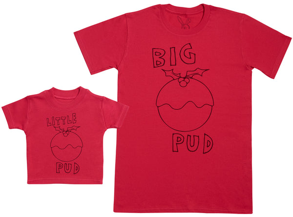 Little Pud & Big Pud Matching Father Baby Gift Set - Mens T Shirt & Baby T-Shirt