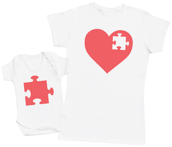 Heart And Puzzle PieceBaby Bodysuit & Mum T-Shirt