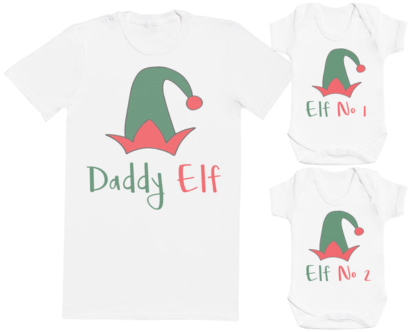 Daddy Elf and Elf No1, No2 Matching Father Baby Gift Set - Mens T Shirt & Baby Bodysuit