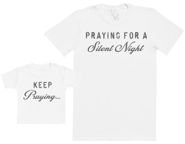 Praying For A Silent Night Matching Father Kids Gift Set - Mens T Shirt & Kid's T Shirt