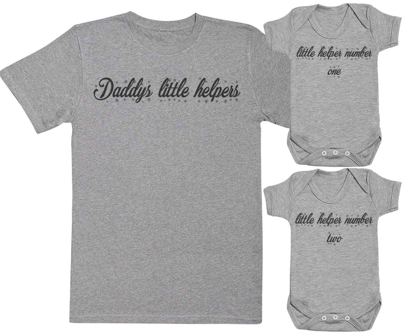 752cb389b Daddys Little Helpers - Baby Gift Set with Baby Bodysuit & Father's T-Shirt  - Grey - S & NB