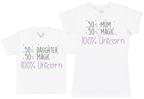 50% Daughter 50% Magic 100% Unicorn Matching Mother Kid's Gift Set - Womens T Shirt & Children's T-Shirt
