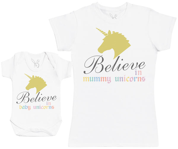 Believe In Baby Unicorns Matching Mother Baby Gift Set - Womens T Shirt & Baby Bodysuit