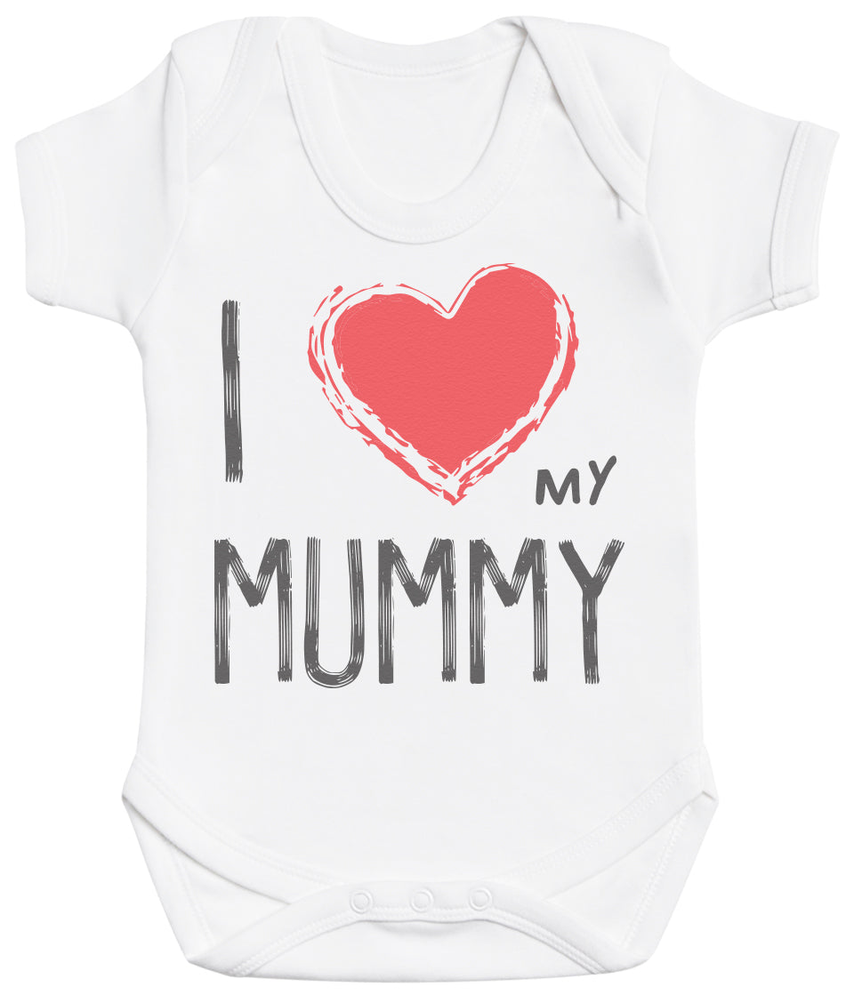 I Love My Mummy Red Heart Baby Bodysuit