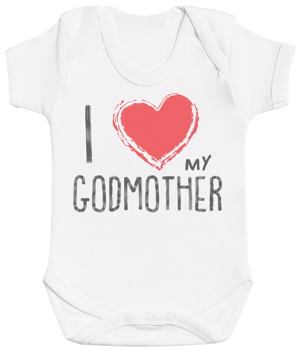 I Love My GodMother Red Heart Baby Bodysuit