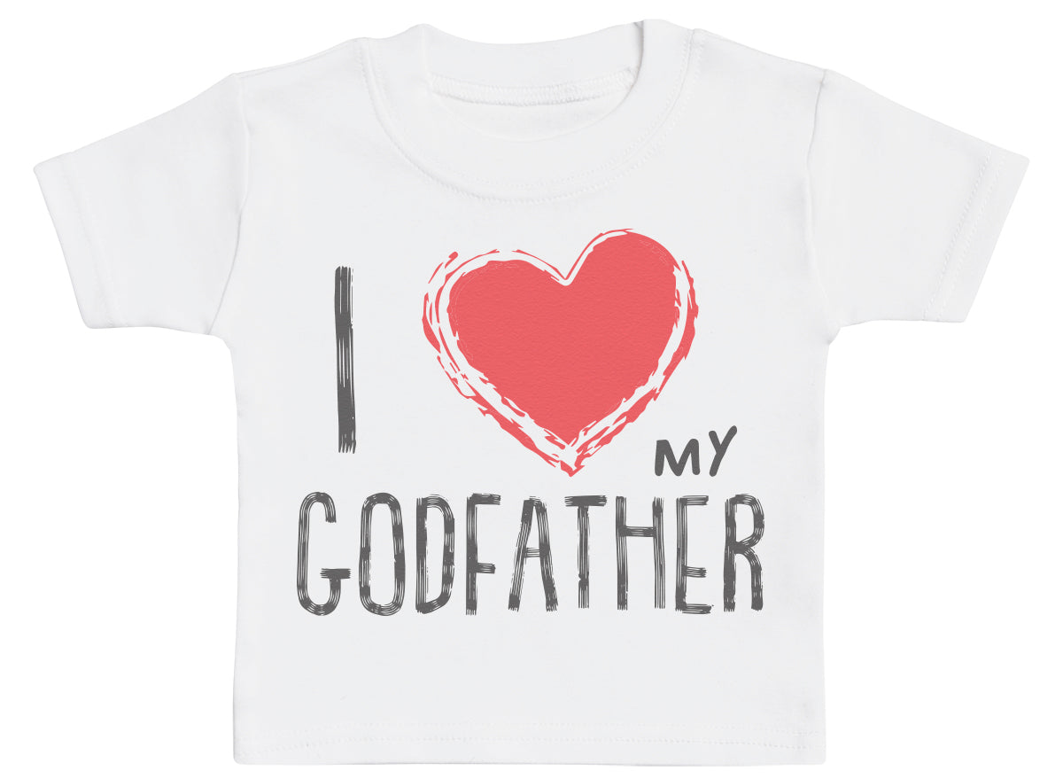 I Love My GodFather Red Heart Baby T-Shirt