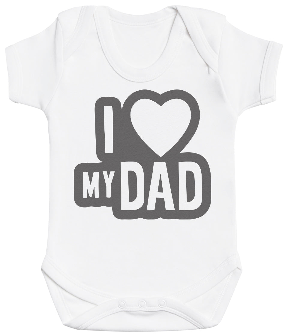 I Love My Dad Black Outline Baby Bodysuit