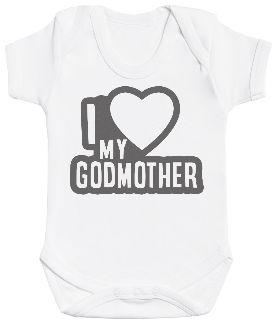 I Love My GodMother Black Outline Baby Bodysuit