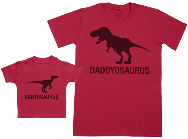 Babyosaurus with Daddyosaurus - Baby Gift Set with Baby T-Shirt & Father's T-Shirt