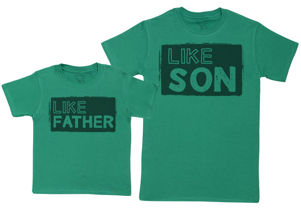 Like Son with Like Father - Kid's Gift Set with Kid's T-Shirt & Father's T-Shirt