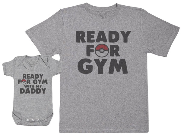 Ready For Gym With Daddy - Baby Gift Set with Baby Bodysuit & Father's T-Shirt