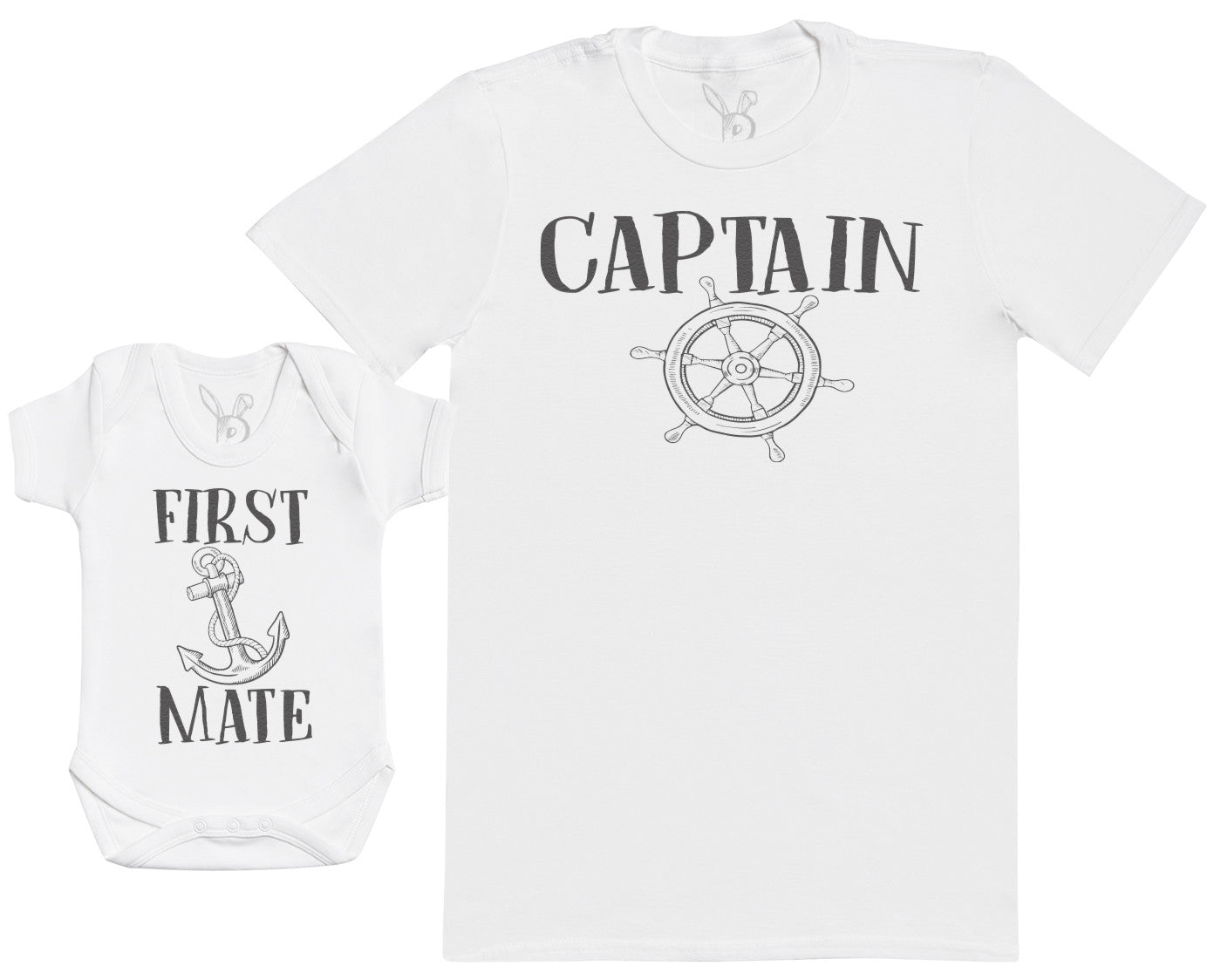 First Mate - Baby Gift Set with Baby Bodysuit & Father's T-Shirt