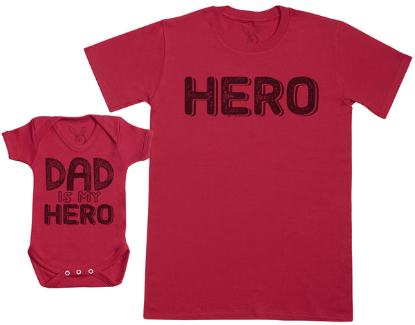 MY Dad Is My Hero - Baby Gift Set with Baby Bodysuit & Father's T-Shirt