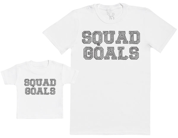SQUAD GOALS - Baby Gift Set with Baby T-Shirt & Father's T-Shirt