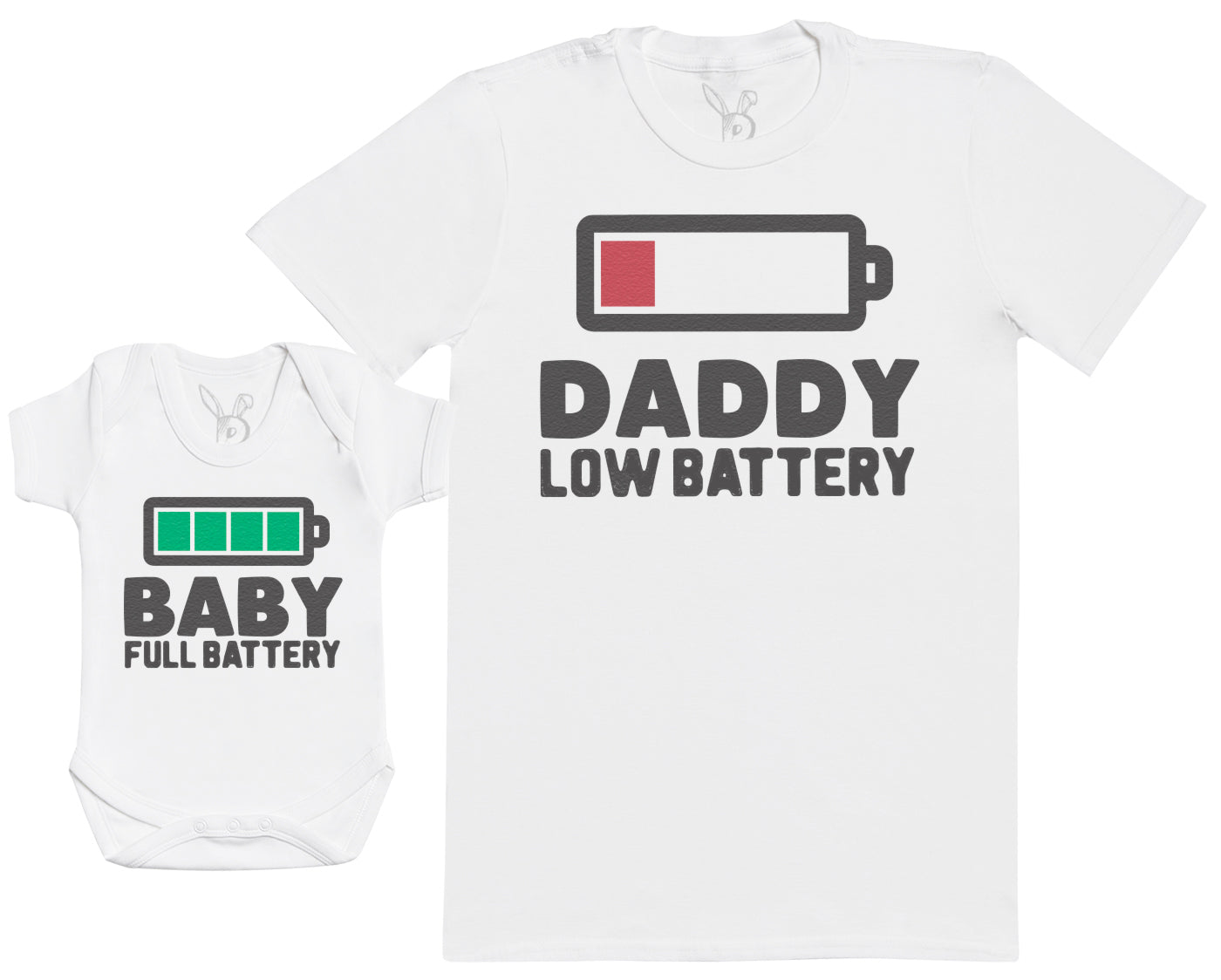 Baby Full Battery - Baby Gift Set with Baby Bodysuit & Father's T-Shirt