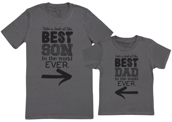 Best Son In The World Ever - Kid's Gift Set with Kid's T-Shirt & Father's T-Shirt