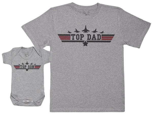 Top Son & Top Dad - Baby Gift Set with Baby Bodysuit & Father's T-Shirt