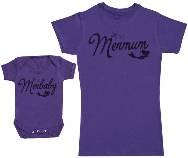 Merbaby - Baby Gift Set with Baby Bodysuit & Mother's T-Shirt