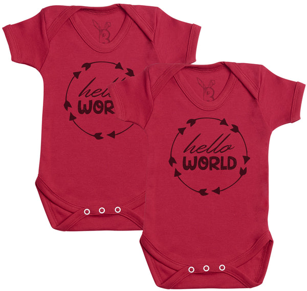 Hello World Twins Baby Bodysuit - Baby Onsie - Baby Gift Twin Set