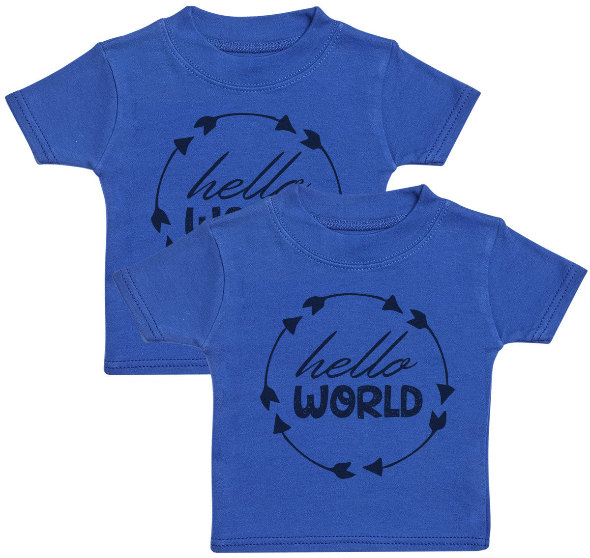 Hello World Twins Baby T-Shirt Twin Set