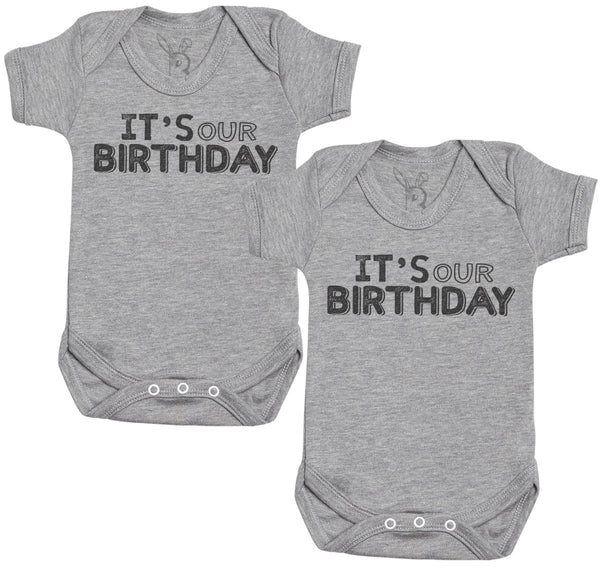 IT's Our Birthday Baby Bodysuit - Baby Onsie - Baby Gift Twin Set