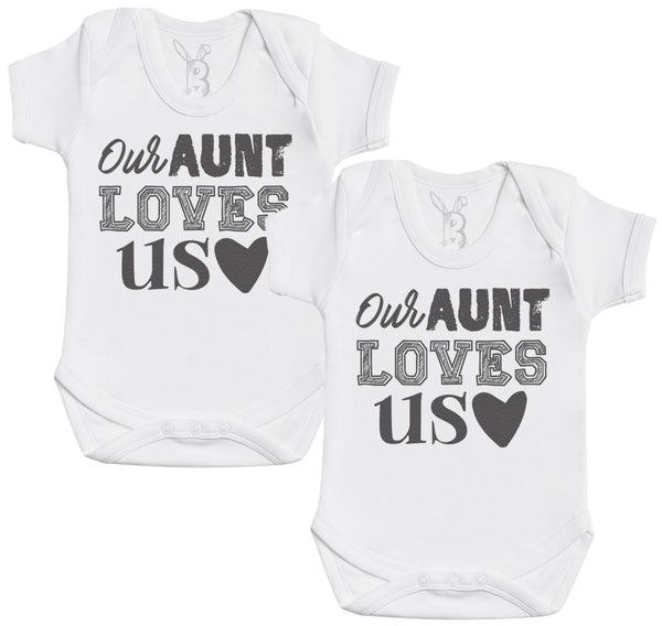 Our Aunt Loves Us Baby Bodysuit - Baby Onsie - Baby Gift Twin Set