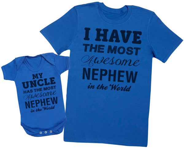 Most Awesome Nephew - Uncle T Shirt & Baby Bodysuit