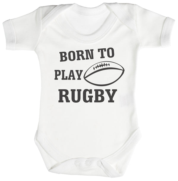 Born To Play Rugby Baby Bodysuit / Babygrow