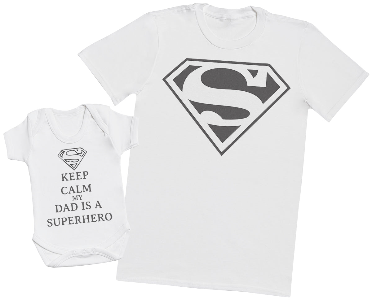 Keep Calm Dad Is A Super Hero - Mens T Shirt & Baby Bodysuit